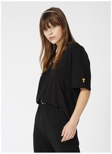 Fabrika Fabrika Talita Siyah V Yaka Kadın T-Shirt Siyah